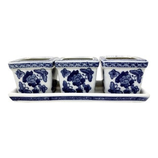 Vintage Chinese Style Blue & White Planters - Set of 3