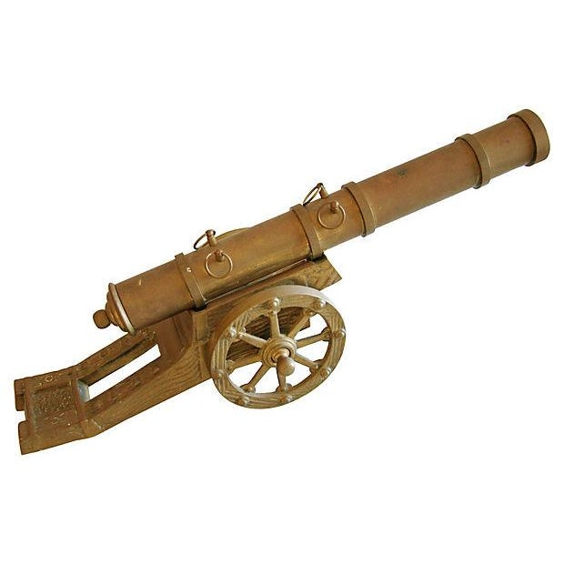Image of Vintage Mid-Century Brass Cannon