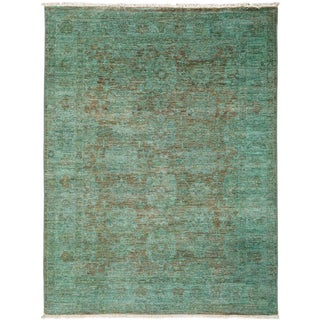 "Vibrance, Hand Knotted Contemporary Green Wool Area Rug - 4' 2"" X 5' 6"""