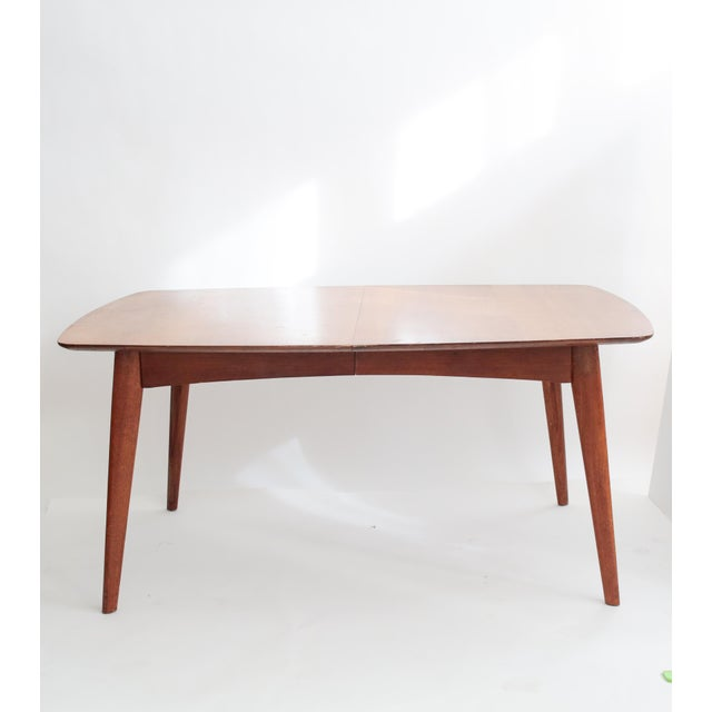 Image of Wooden Mid Century Modern Expandable Dining Table