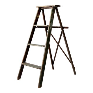Vintage Green Wood Ladder