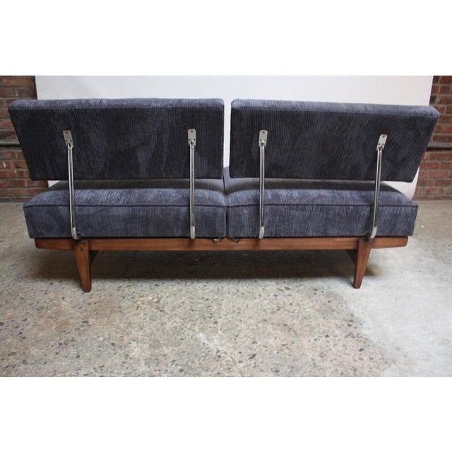Danish Modern Convertible Daybed/Sofa on Chrome and Walnut Base - Image 11 of 11