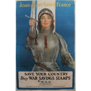 "1918 Antique American WWI ""Joan of Arc Saved France"" Poster"