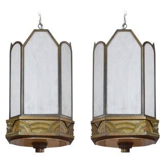 Pair of Art Deco Bronze Chandeliers