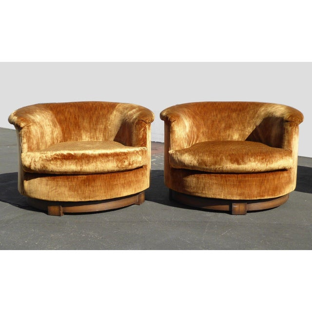 Vintage Mid Century Orange Velvet Swivel Club Chairs