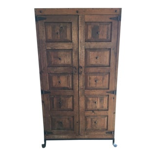 Contemporary Carved Wood Armoire