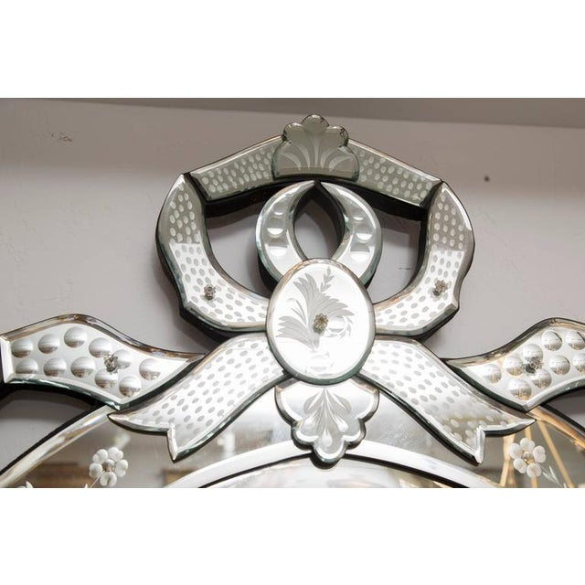 Venetian Etched Ribbon Design Wall Mirror - Image 6 of 9