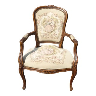 French Provincial Carved Wood Tapestry Armchair