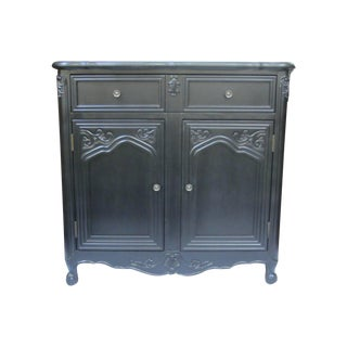 French Style Black Finished Wood Cabinet