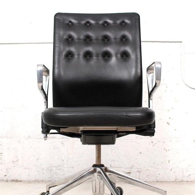 Vitra Italian Black Leather Swivel Desk Chair - Image 2 of 9
