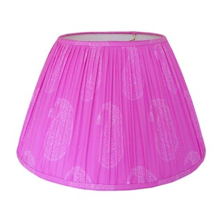 Medium Fuchsia Block Print Gathered Lamp Shade