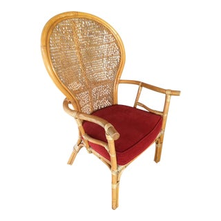 High Back Ficks Reed Bamboo Chair