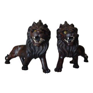 Japanese Carved Wood Lions- A Pair