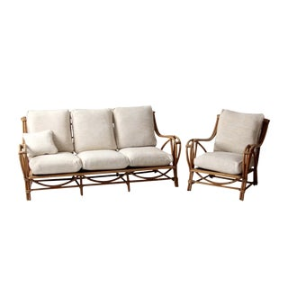 Vintage Rattan Couch and Chair Set