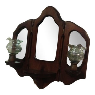 Wooden Wall Sconce with Decorative Mirror