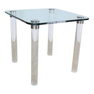 Thick Glass Top Lucite Legs Mid-Century Modern Square Game Dinette Table