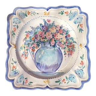 Hand-Painted French Faience Serving and Display Plate