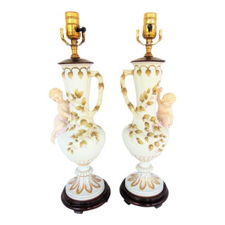 Antique French Cherub Lamps - A Pair