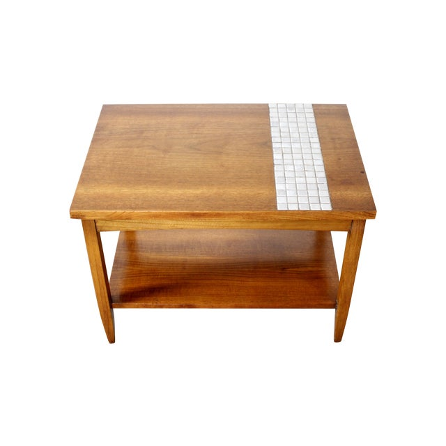 Lane Mid-Century Tile & Wood End Table - Image 1 of 10