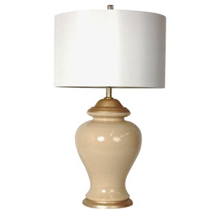 Gold & Cream Ginger Jar Lamp, W/Shade