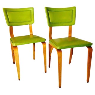 Lime Green Upholstered Thonet Dining Chairs - a Pair