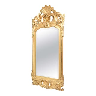 19th Century Swedish, Gustavian Mirror with Original Beveled Glass and Water Gilt Gold Finish
