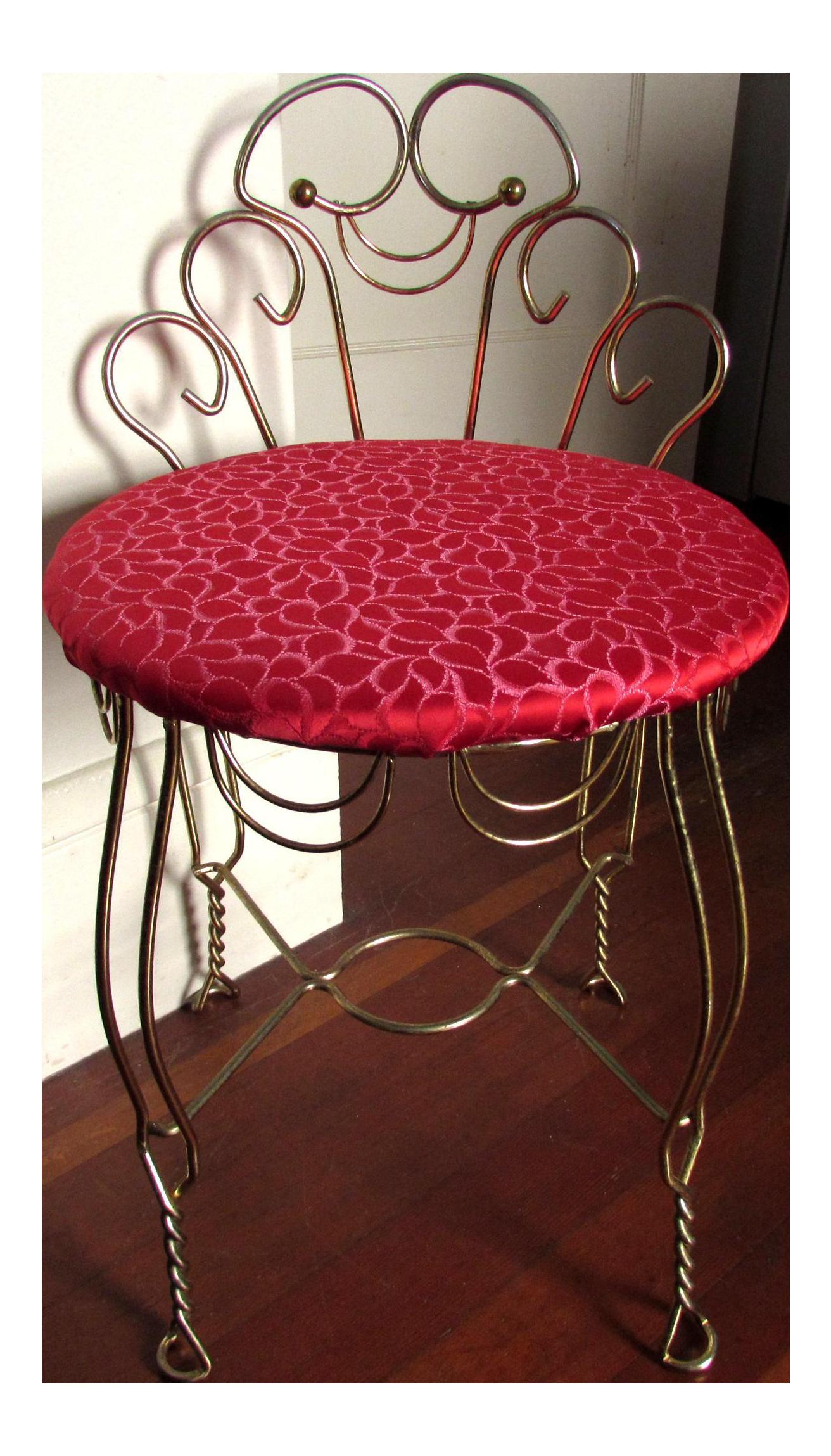 Vintage Red U0026 Brass Vanity Stool