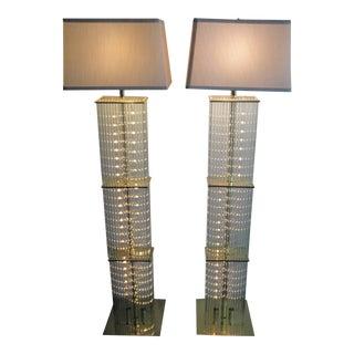 Pair of Sciolari Brass and Glass Floor Lamps for Lightolier