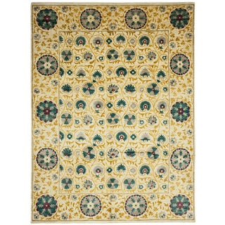 """Suzani, Hand Knotted Area Rug - 9' 1"""" x 12' 7"""""""