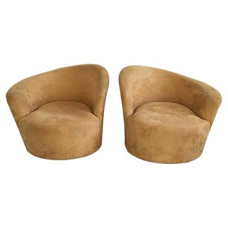 Kagan Style Swivel Club Chairs - A Pair