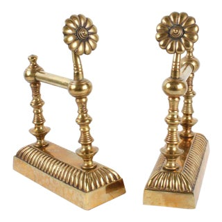 Vintage Brass Floral Andirons - A Pair