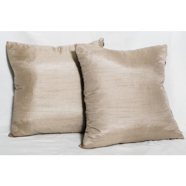 Contemporary Raw Silk Pillows-A Pair - Image 4 of 4