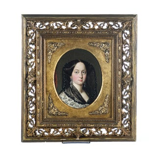 19th C. Victorian Woman Oil Painting
