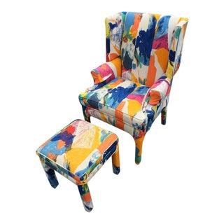 Century Mid-Century Wing Back Chair & Ottoman