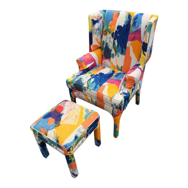 Mid-Century Wing Back Chair & Ottoman - Image 1 of 11