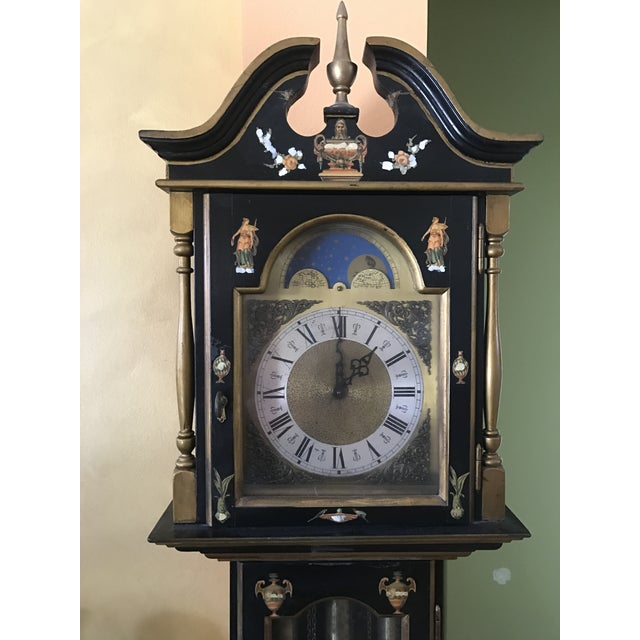 Asian Black Grandfather Clock Hand Painted With Pearl Inlay - Image 6 of 11