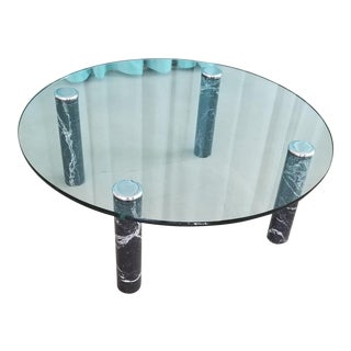 Pace Collection 1970's Glass Coffee Table with Black Marble and Chrome Legs