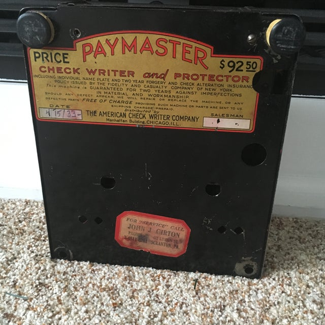 1930s Antique Paymaster Office Check Writer - Image 9 of 11