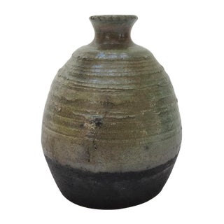 Green & Black Pottery Bud Vase