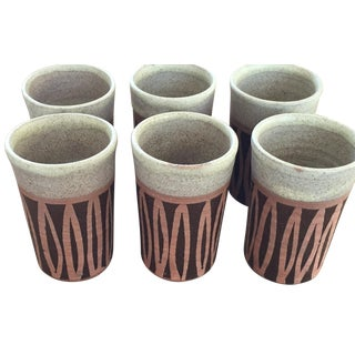1972 Vintage Studio Pottery Cups Signed Set of 6