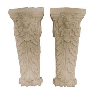 Molded Lion Concrete Sconces - a Pair