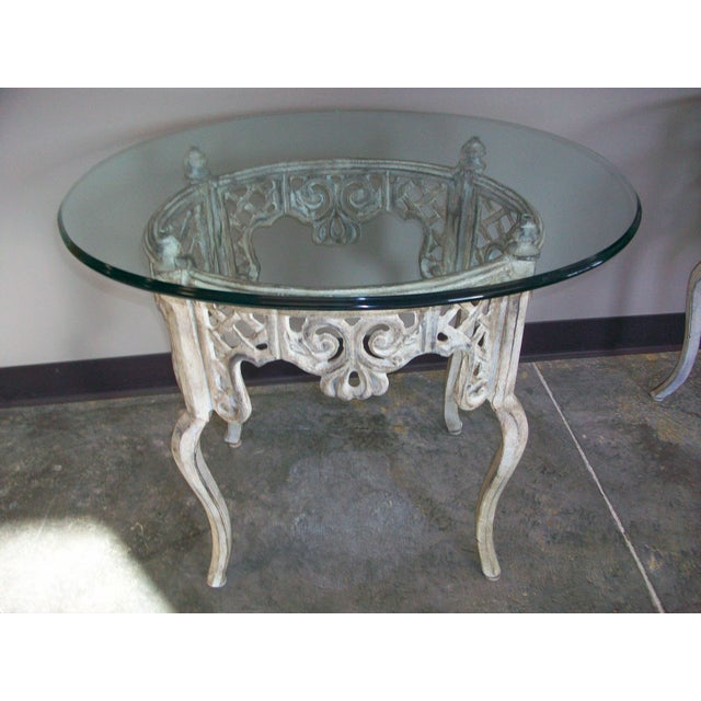 Glass and cast iron end tables a pair chairish for Cast iron end table
