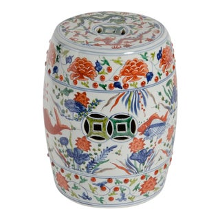 Chinoiserie Orange Koi Garden Stool