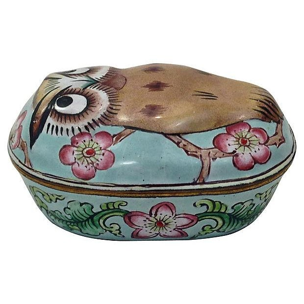Cantonese Hand-Painted Enamel Owl Box - Image 3 of 7