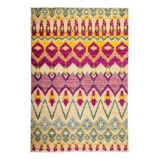 """Ikat Hand Knotted Area Rug - 4'3"""" X 6'1"""""""