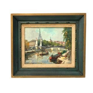 Vintage Seine River Parisian Painting
