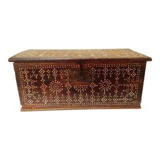 Antique Syrian Trunk With Bone Inlay