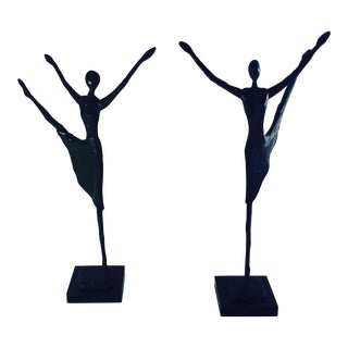 Vintage Giacometti-Style Bronze Sculptures - A Pair