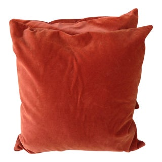 Rust Velvet Pillows -A Pair