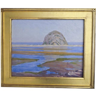 Morro Rock at Low Tide Painting by Clyde Scott